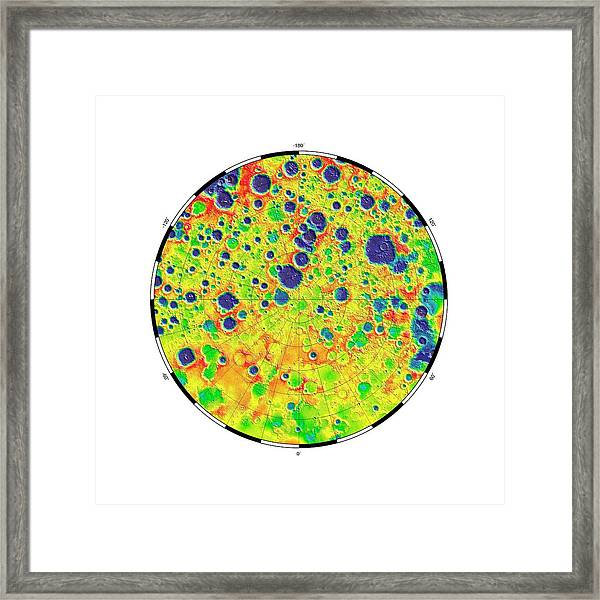 Gravity At The Moon's North Pole Framed Print