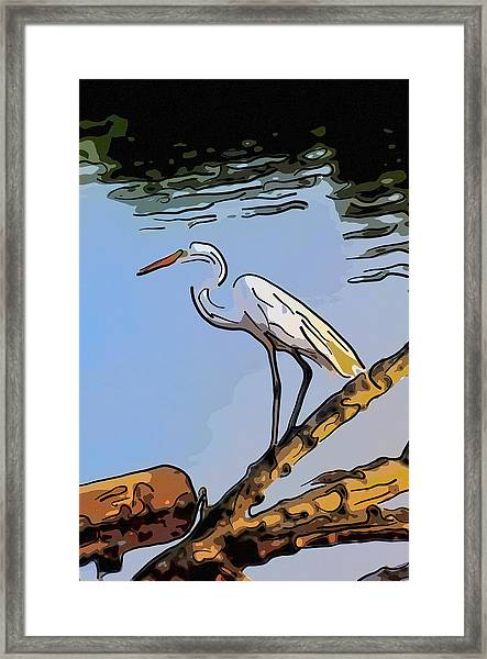 Great Egret Fishing Abstract Framed Print