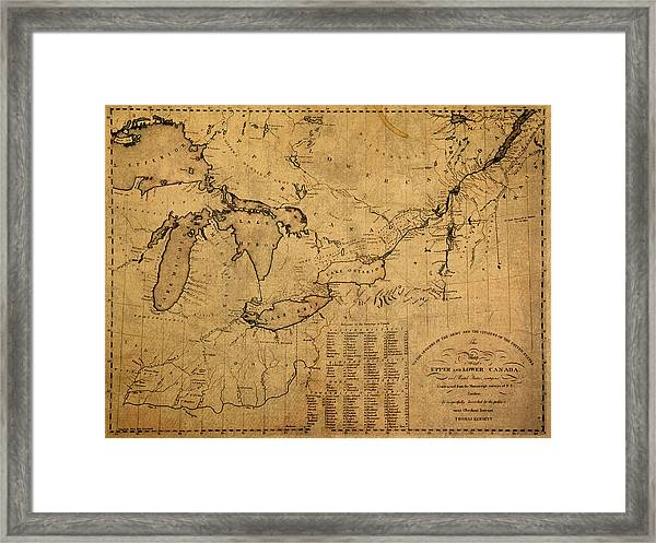 Great Lakes And Canada Vintage Map On Worn Canvas Circa 1812 Framed Print