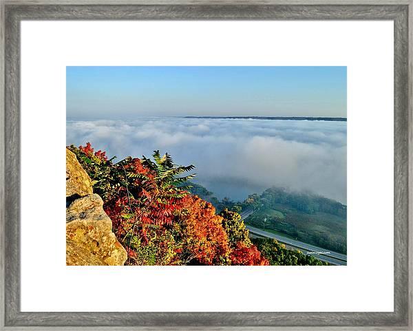 Great River Road Fog Framed Print
