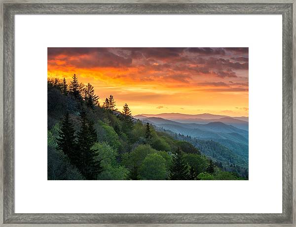 Great Smoky Mountains North Carolina Scenic Landscape Cherokee Rising Framed Print