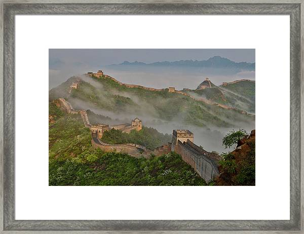 Great Wall Of China On A Foggy Morning Framed Print by Darrell Gulin