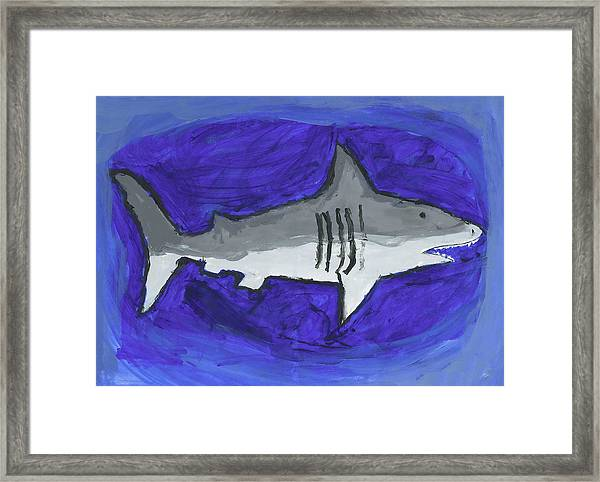 Great White In The Deep Blue Sea Framed Print by Fred Hanna