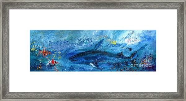 Great White Shark Coral Reef Ocean Life Framed Print