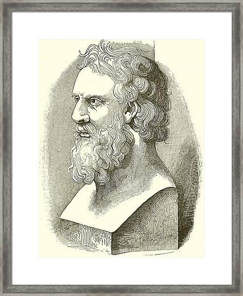 Greek Bust Of Plato Framed Print