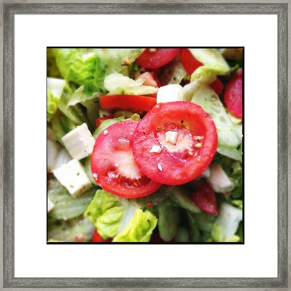 Greek Salad With Tasty Tomatoes Framed Print