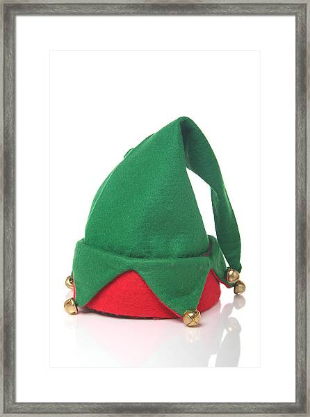 Green And Red Elf Hat With Bells With A White Background Framed Print by Sadeugra