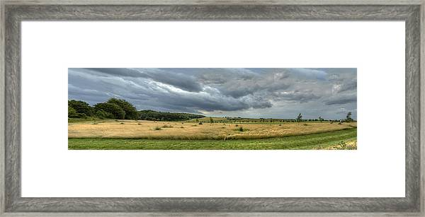 Green And Yellow Meadows At A Golfing Club In Kashubia Of Poland Framed Print
