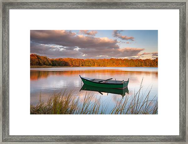 Green Boat On Salt Pond Framed Print