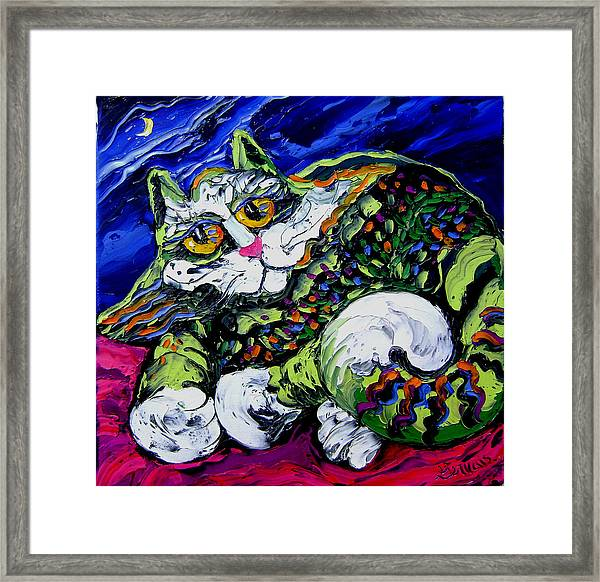 Green Cat Framed Print by Isabelle Gervais