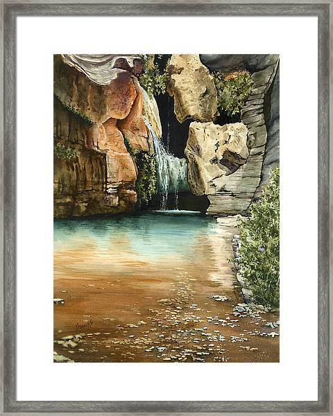 Green Falls II Framed Print