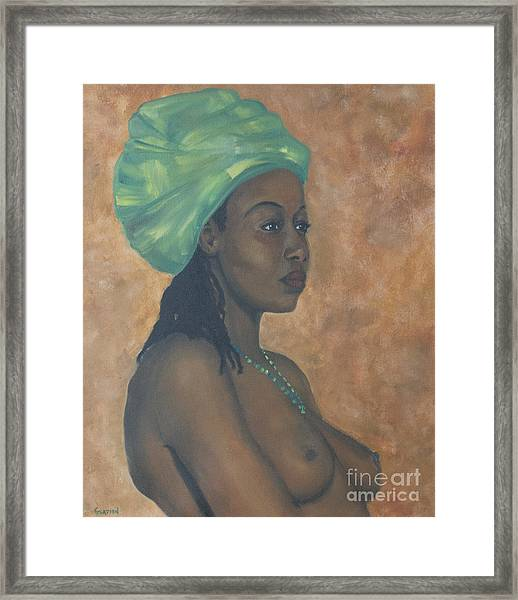 Green Headwrap Framed Print