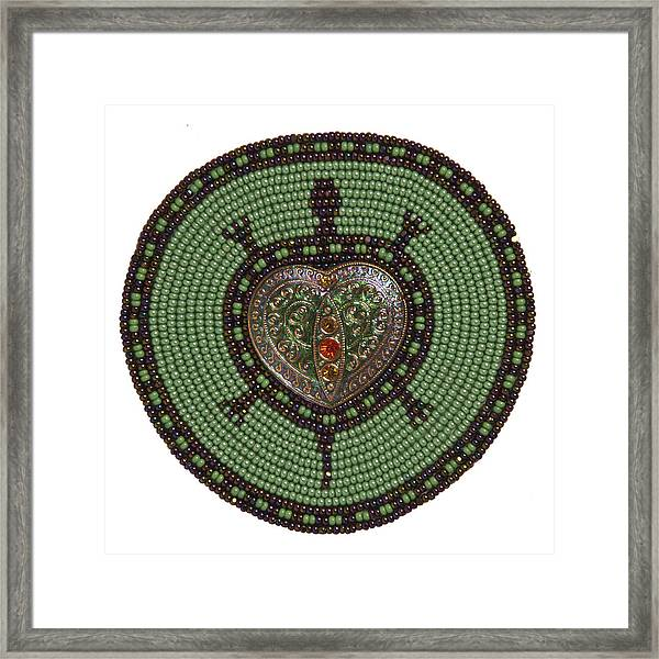Green Heart Turtle Framed Print