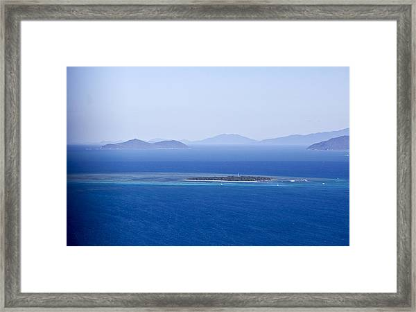 Green Island With Fitzroy Island In The Back Ground Framed Print by Debbie Cundy