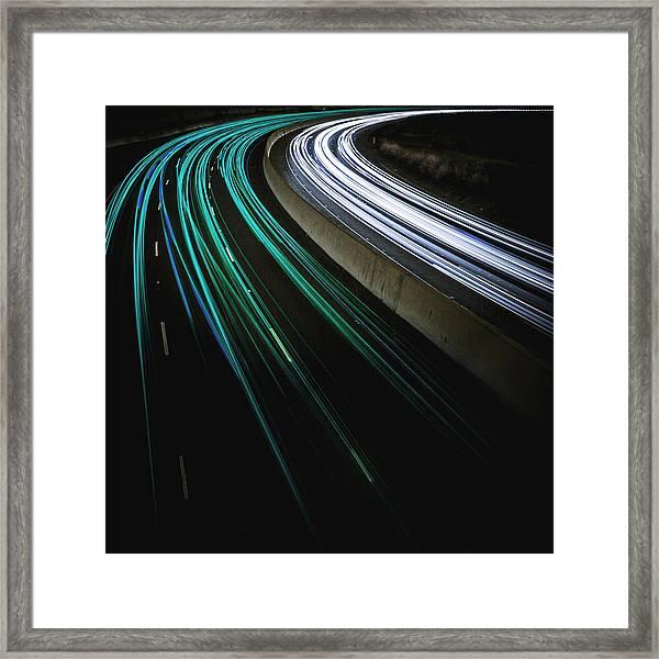 Green Light Trail Framed Print