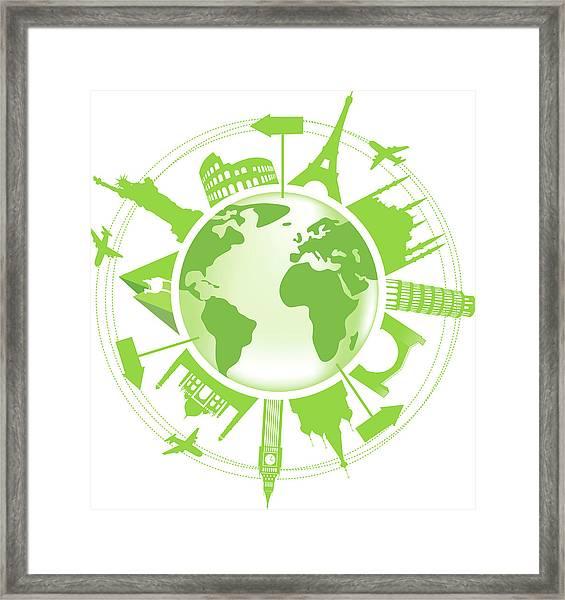 Green Travel Symbol Framed Print