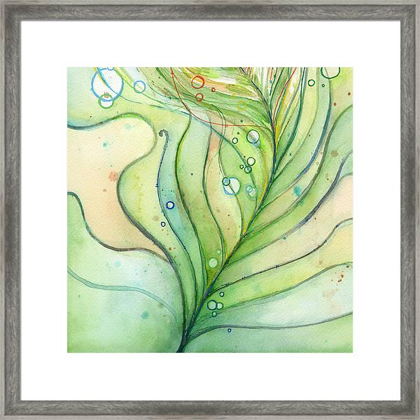Green Watercolor Bubbles Framed Print