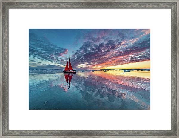 Greenland Fire Sky Framed Print by Marc Pelissier