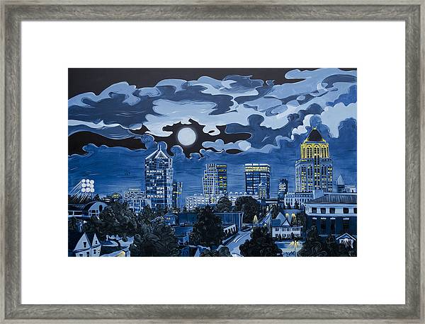 Greensboro Night Skyline Framed Print