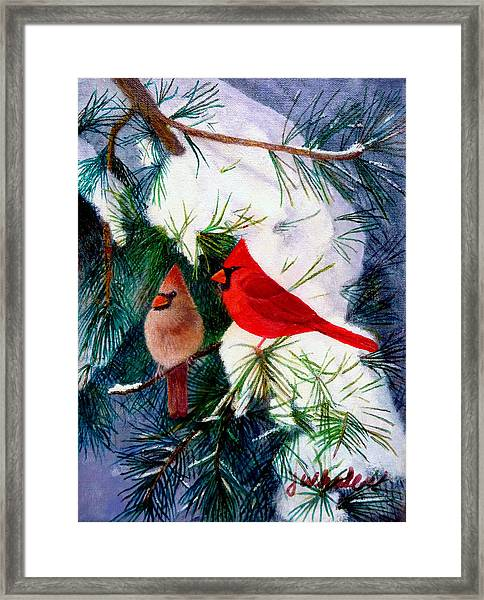 Greeting Cardinals Framed Print