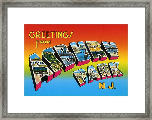 Greetings From Asbury Park Nj Framed Print