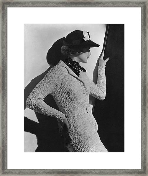 Gretchen Uppercue Wearing A Suit And Hat Framed Print