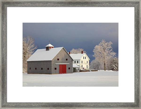 Grey Barn Framed Print