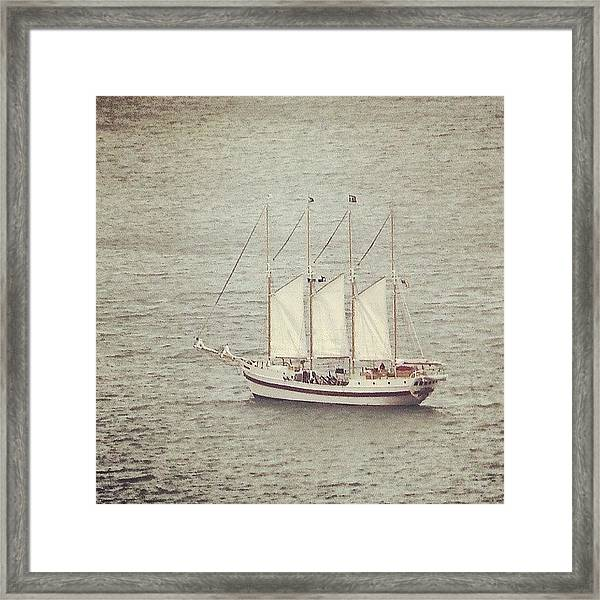 Gray Day And A Tall Ship Framed Print