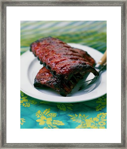 Grilled Ribs On A White Plate Framed Print