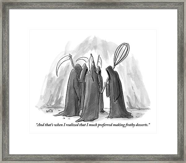 Grim Reapers Stand In A Circle Framed Print
