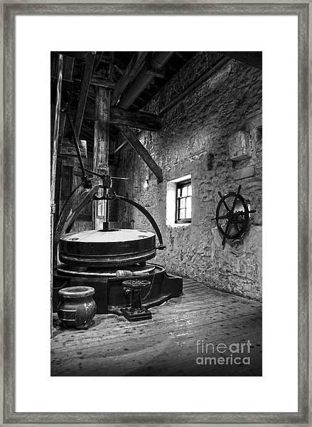 Grinder For Unmalted Barley In An Old Distillery Framed Print