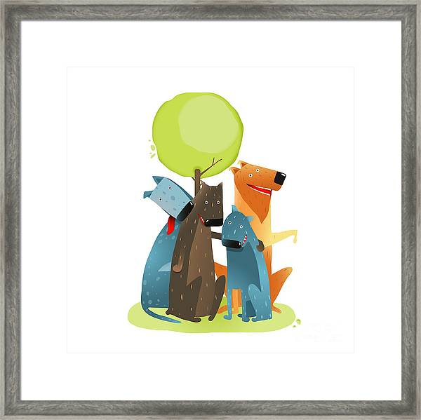 Group Of Cartoon Dogs Sitting Under Framed Print