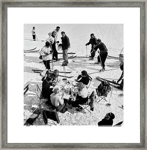 Group Of Skiers At Sant Moritz Framed Print