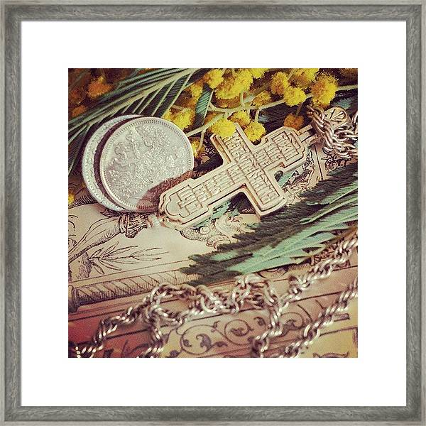Group With Coins And Cross Framed Print