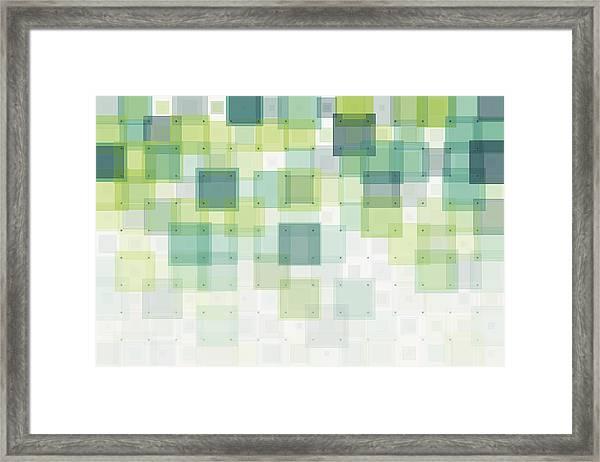 Growth Geometric Squares Pattern Framed Print by FrankRamspott