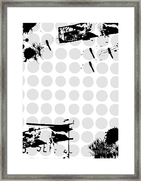 Grunge Background With Dragonfly Framed Print by Ozkan
