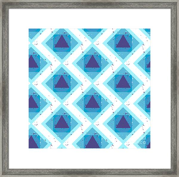 Grunge Colorful Abstract Geometric Framed Print