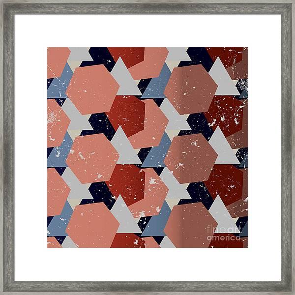 Grunge Geometric Background. Vector Framed Print