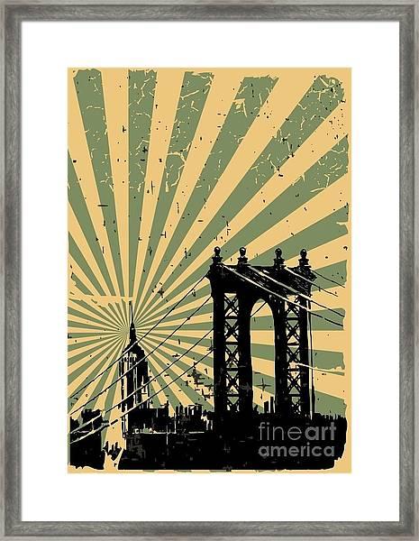 Grunge Image Of New York, Poster, Vector Framed Print