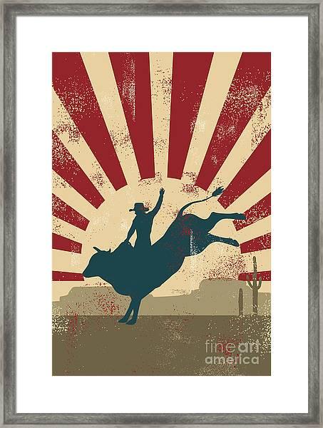 Grunge Rodeo Poster,vector Framed Print