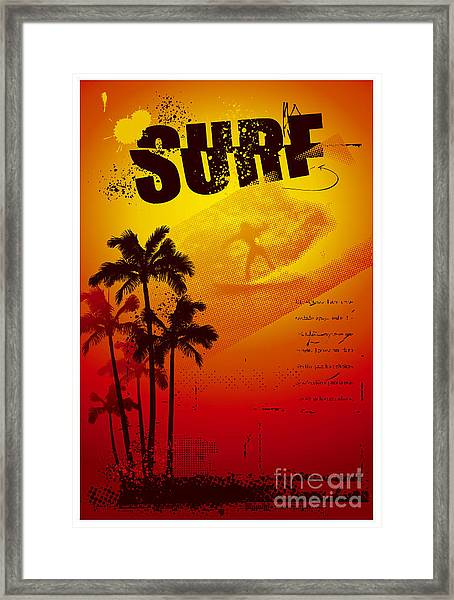 Grunge Surf Poster With Palms And Sunset Framed Print by Locote