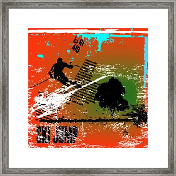 Grunge Winter Background With Skier Framed Print