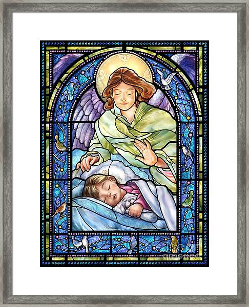 Guardian Angel With Sleeping Girl Framed Print