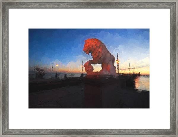 Guardian Of The Bridge Framed Print