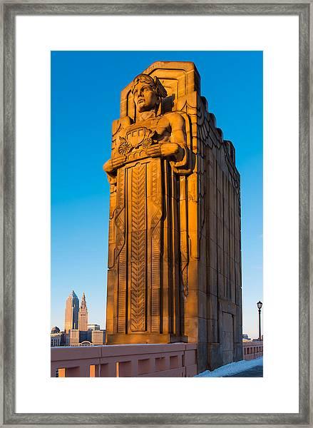 Guardian Towering Over Cleveland Framed Print