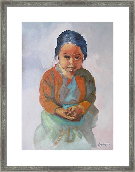Guatemalan Girl With Folded Hands Framed Print