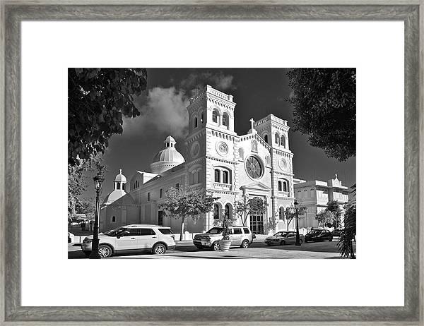 Guayama Church And Plaza B W 1 Framed Print