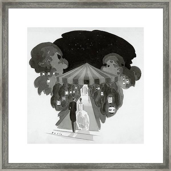 Guests Entering A Tent For A Dinner Framed Print
