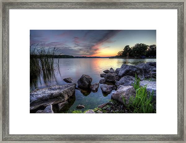 Guilford Lake Sunset Framed Print