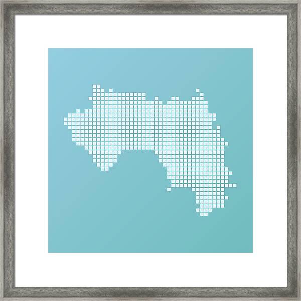 Guinea Map Basic Square Pattern Turquoise Framed Print by FrankRamspott